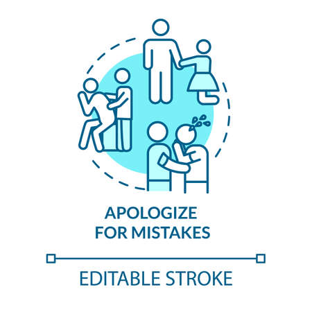 Apologize for mistakes concept icon. Friendship relationship advice. Best friends conflict resolution idea thin line illustration. Vector isolated outline RGB color drawing. Editable stroke