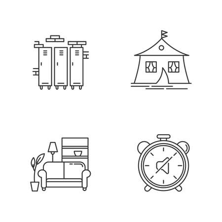 Dormitory conditions pixel perfect linear icons set. Gym, swimming pool storage closets. Marquee tent. Customizable thin line contour symbols. Isolated vector outline illustrations. Editable stroke