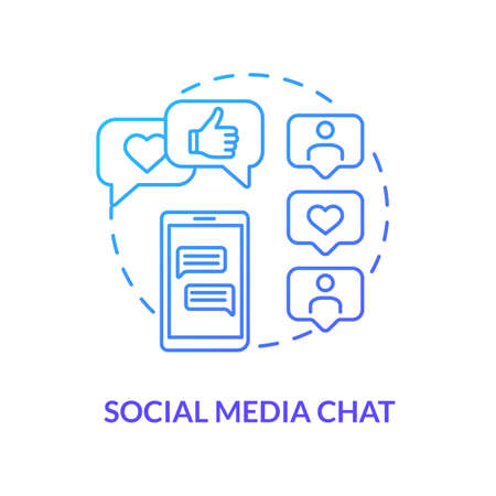 Social media chat blue concept icon. Online communication. Talk through direct messages. Internet conversation. Roaming idea thin line illustration. Vector isolated outline RGB color drawing