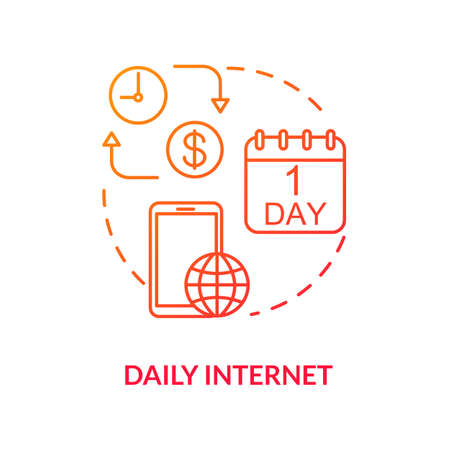 Daily internet red concept icon. Paid provider coverage. Mobile internet per day. Tariff price. Mobile phone service. Roaming idea thin line illustration. Vector isolated outline RGB color drawing Ilustração