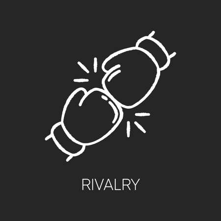 Rivalry chalk white icon on black background. Friendly contest, competitive interpersonal relationship. Rivals confrontation, conflict, opponents clash. Isolated vector chalkboard illustration Иллюстрация