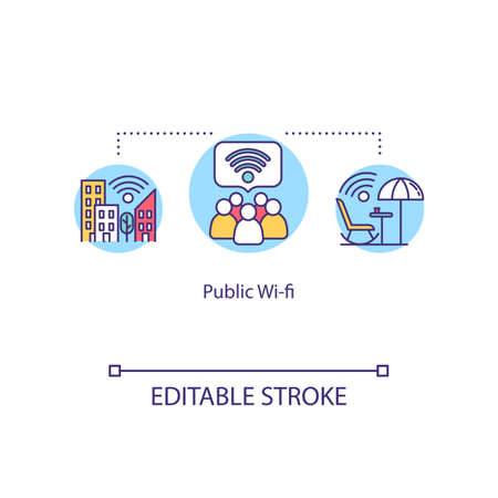 Public Wi-fi concept icon. Free Internet access, network coverage. Telecommunication unpaid service idea thin line illustration. Vector isolated outline RGB color drawing. Editable stroke