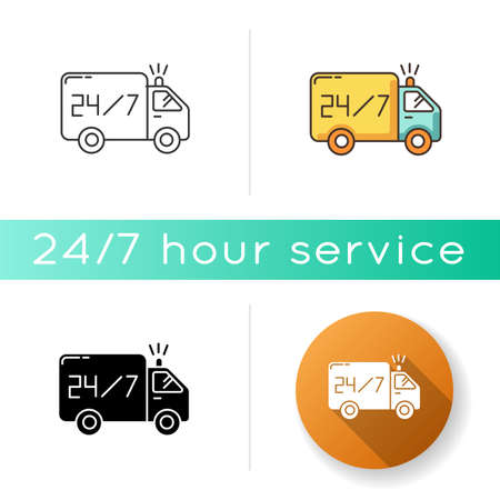 24 7 hour delivery icon. Fast twenty-four seven shipping. Everyday shipping car. Transportation truck. Around the clock service. Linear black and RGB color styles. Isolated vector illustrations