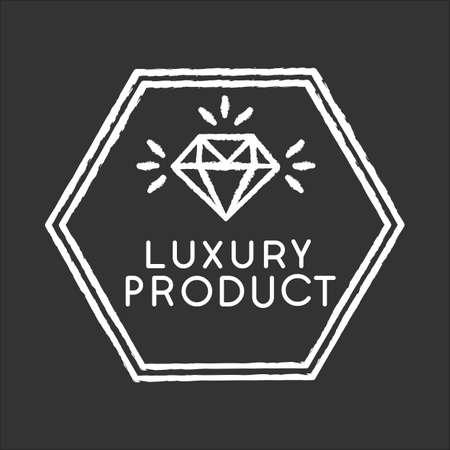 Luxury product chalk white icon on black background. High class jewellery, expensive product. Jewelry store. Elegant emblem with shiny diamond isolated vector chalkboard illustration Ilustração Vetorial