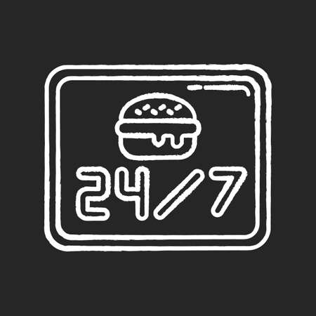 24 7 open burger joint chalk white icon on black background. Twenty four seven cantine. Everyday eatery menu. 24 hrs fast food. Around the clock working hours. Isolated vector chalkboard illustration