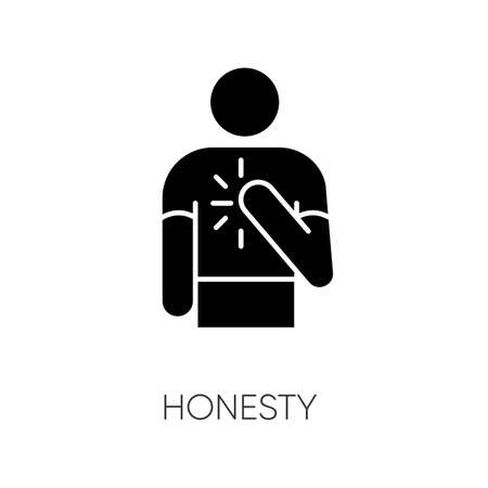 Honesty black glyph icon. Truthfulness, sincerity and credence silhouette symbol on white space. Trustworthy, sincere, person. Reliable, genuine friend vector isolated illustration Ilustração