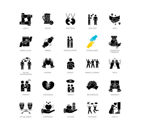 Friendly relationship black glyph icons set on white space. Friendship, interpersonal communication, emotional bond silhouette symbols. Best friends, buddies vector isolated illustration Vector Illustration