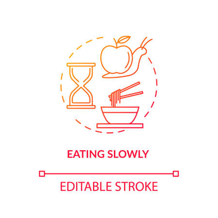 Eating slowly concept icon. Mindful nutrition idea thin line illustration. Thorough and attentive food consumption, enjoying meal. Vector isolated outline RGB color drawing