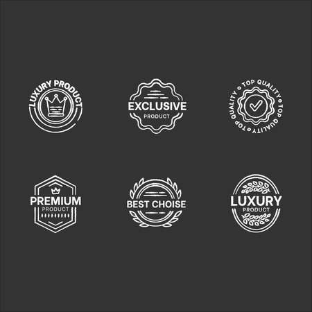 Top quality chalk white icons set on black background. Premium products. Brand advertising, exclusiveness assurance. Best choice elegant badges isolated vector chalkboard illustrations