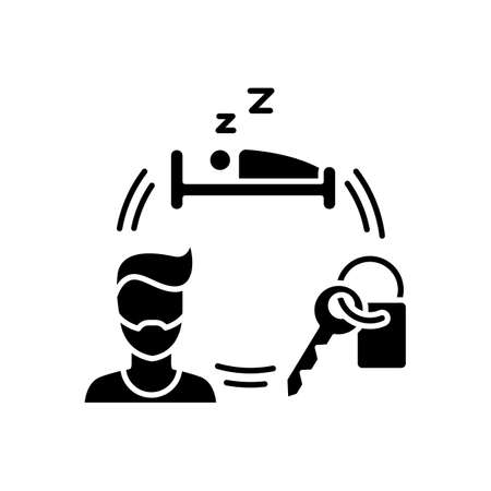 Renting hotel room for short term black glyph icon. Booking accommodation. Housing facility. Travelling facilities. Rental service. Silhouette symbol on white space. Vector isolated illustration