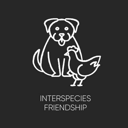 Interspecies friendship chalk white icon on black background. Bond between domestic animals, friendly relationship. Dog and chicken getting along isolated vector chalkboard illustration