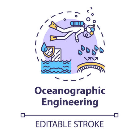 Oceanographic engineering concept icon. Exploring underwater ecosystem. Biologist in ocean. Oceanography idea thin line illustration. Vector isolated outline RGB color drawing. Editable stroke