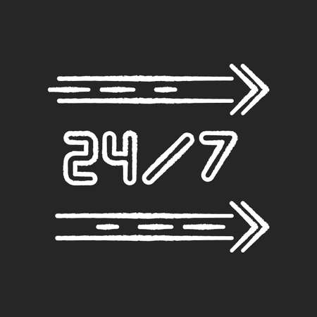 24 7 hour service chalk white icon on black background. Straight lines on sign. All day open store. Arrows point left. Twenty four seven available store. Isolated vector chalkboard illustration