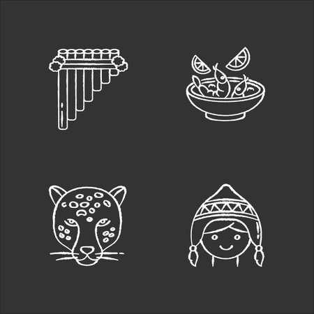 Peru chalk white icons set on black background. Peruvian art, cuisine, animal world, costume. Siku, ceviche, jaguar, chullo hat. Customs of andean culture. Isolated vector chalkboard illustrations Vector Illustration
