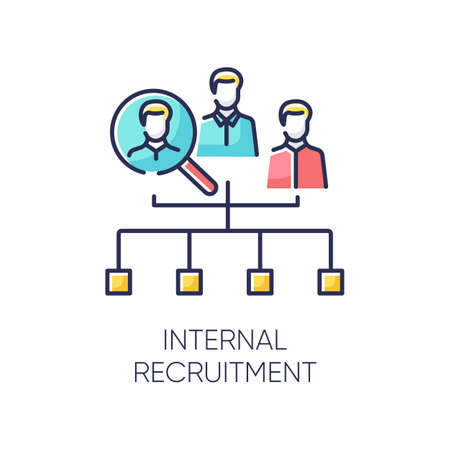 Internal recruitment RGB color icon. Job promotion, career development opportunity. Professional growth. Vacancy candidate selection, workforce search. Isolated vector illustration