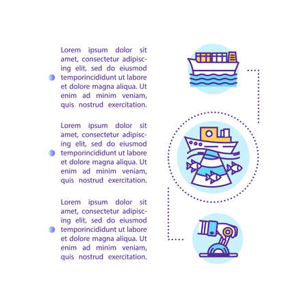 Oceanographic engineering concept icon with text. Exploration of ocean ecosystem. Deep water research. PPT page vector template. Brochure, magazine, booklet design element with linear illustrations