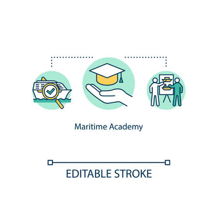 Maritime academy concept icon. Graduation from marine university. Naval training for students idea thin line illustration. Vector isolated outline RGB color drawing. Editable stroke