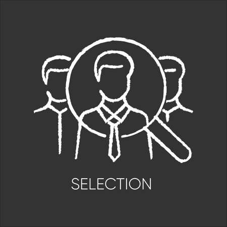 Selection flat design long shadow glyph icon. Executive search, professional headhunting, employment agency. Job candidates, recruits under magnifying glass silhouette RGB color illustration