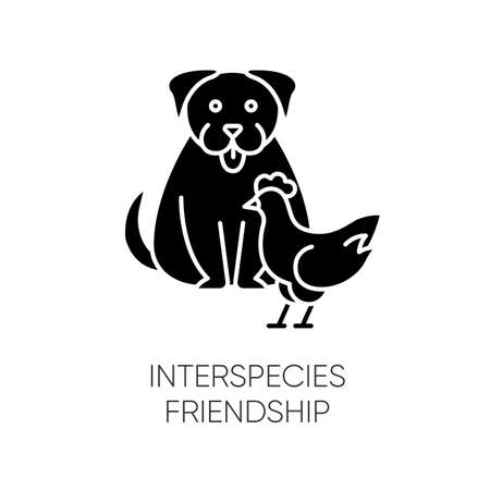 Interspecies friendship black glyph icon. Bond between domestic animals, friendly relationship silhouette symbol on white space. Dog and chicken getting along vector isolated illustration