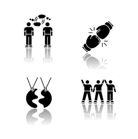 Friendship types drop shadow black glyph icons set. Mutual understanding, rivalry, best friend and friendly company. Social connection symbols. Isolated vector illustrations on white space