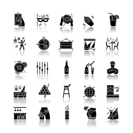 Night club drop shadow black glyph icons set. Entertainment venue, dancing and drinking establishment. Nightclub lifestyle, late night party. Isolated vector illustrations on white space