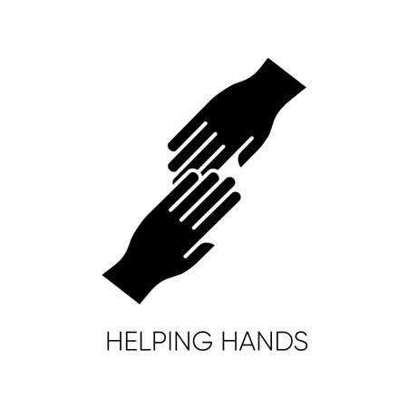 Helping hand black glyph icon. Friendly support, friends assistance. Friendship, virtue, outreach silhouette symbol on white space. Social aid, charity, voluntary service. Vector isolated illustration