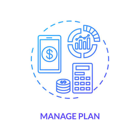 Manage plan blue concept icon. Internet tariff cost. Check expense. Calculate payment online. Mobile banking. Roaming idea thin line illustration. Vector isolated outline RGB color drawing