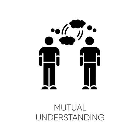 Mutual understanding black glyph icon. Psychological connection, interpersonal bond, friendship silhouette symbol on white space. Friends communication, empathy. Vector isolated illustration