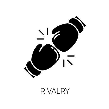 Rivalry black glyph icon. Friendly contest, competitive interpersonal relationship silhouette symbol on white space. Rivals confrontation, conflict, opponents clash. Vector isolated illustration Иллюстрация