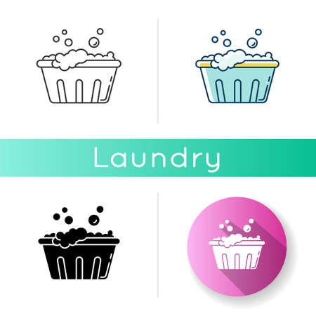Handwash icon. Soaking laundry, wash basin with foam, hand washing. Delicate fabric wash, stain removal, garment care, housework. Linear black and RGB color styles. Isolated vector illustrations