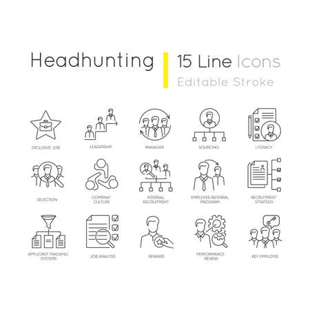 Headhunting pixel perfect linear icons set. Human resources management, corporate recruitment, employment customizable thin line contour symbols. Isolated vector outline illustrations. Editable stroke