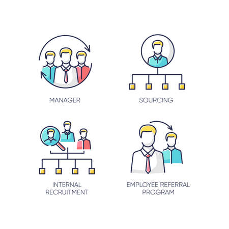 Executive search RGB color icons set. Manager, sourcing, internal recruitment and employee referral program. Professional headhunting strategies, staff hiring tactics. Isolated vector illustrations