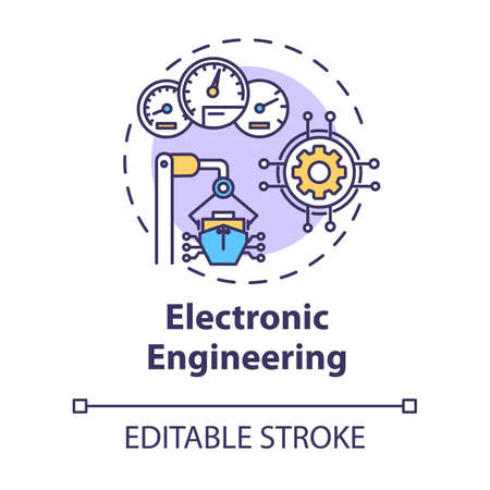 Electronic engineering concept icon. Ship devices maintenance. Boat in port. Vessel machinery fix idea thin line illustration. Vector isolated outline RGB color drawing. Editable stroke