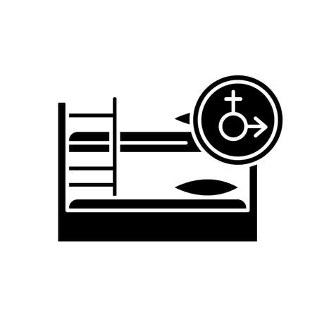 Mixed dorm black glyph icon. Shared dormitory room. Common bedroom. Bunk bed. Accommodation facility. Hostel. University residence. Silhouette symbol on white space. Vector isolated illustration