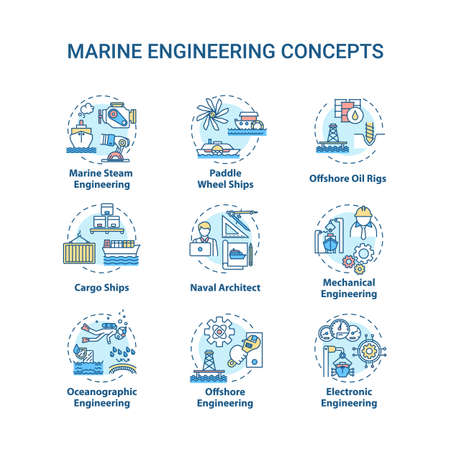 Marine engineering concept icons set. Paddle wheel ship. Offshore oil rig. Water vessel maintenance idea thin line RGB color illustrations. Vector isolated outline drawings. Editable stroke