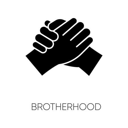 Brotherhood black glyph icon. Strong friendship, interpersonal bond, Togetherness, unity and fellowship silhouette symbol on white space. Manly handshake vector isolated illustration Vectores
