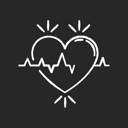 Heart chalk white icon on black background. Pulse rate. Heartbeat rhythm. Cardiogram frequency analysis. Vital signs. Cardio health care. Medical tests. Isolated vector chalkboard illustration