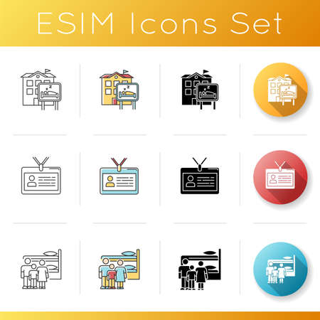 Hostel icons set. Motel, inn. Identity card. Communal space. Living accommodations. Shared space. Common bedroom. Family dormitory. Linear, black and RGB color styles. Isolated vector illustrations