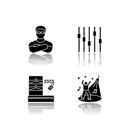 Nightclub drop shadow black glyph icons set. Face control, late night party, night club discotheque. Bouncer, wardrobe, dance floor and equalizer isolated vector illustrations on white space Stock Illustratie