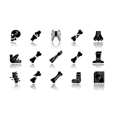 Body injuries drop shadow black glyph icons set. Broken arm, foot. Bone fractures. Neck and skull injury. Hurt limbs. Rib cage break. Rib cage break. Isolated vector illustrations on white space