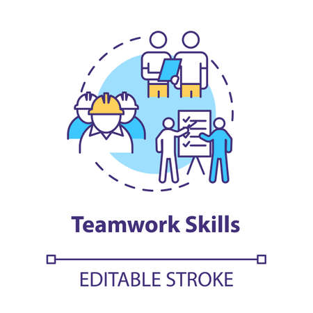 Teamwork skill concept icon. Technician group work. Soft skill for production worker. Marine engineer idea thin line illustration. Vector isolated outline RGB color drawing. Editable stroke