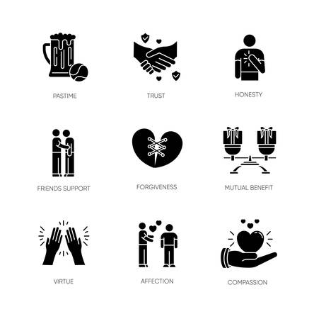 Friends relationship black glyph icons set on white space. Social connection, strong interpersonal bond silhouette symbols. Friendly communication, fellowship. Vector isolated illustration Illustration