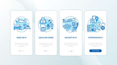 Paid WI-fi and local SIM-card onboarding mobile app page screen with concepts. Hotel and inflight Wi-fi walkthrough 4 steps graphic instructions. UI vector template with RGB color illustrations
