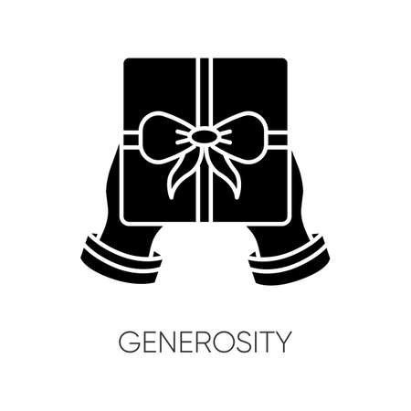 Generosity black glyph icon. Virtue, selfless giving. Birthday, holiday event, special occasion celebration silhouette symbol on white space. Festive present vector isolated illustration