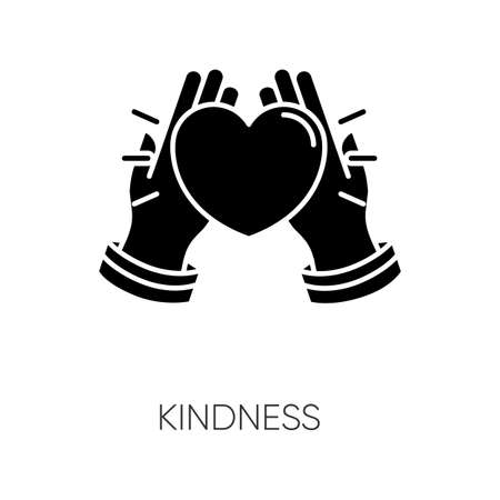 Kindness black glyph icon. Emotional affection, love and support, friendship silhouette symbol on white space. Voluntary help, charity. Hands holding heart vector isolated illustration