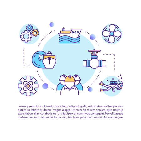 Marine engineer concept icon with text. Ship maintenance crew. Oceanographic exploration. PPT page vector template. Brochure, magazine, booklet design element with linear illustrations