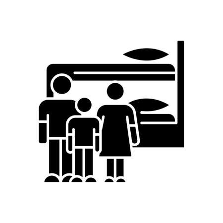 Family dormitory black glyph icon. Shared room. Common bedroom. Accommodation facility. Bunk bed. Residential area. Living conditions. Silhouette symbol on white space. Vector isolated illustration