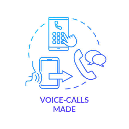 Voice-calls made blue concept icon. Chating with smartphone. Ring contact. Mobile phone service. Network connection. Roaming idea thin line illustration. Vector isolated outline RGB color drawing