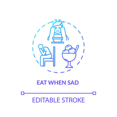 Eat when sad concept icon. Emotional eating, mindless nutrition idea thin line illustration. Unhealthy habit, careless overeating. Vector isolated outline RGB color drawing