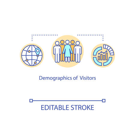 Visitors demographics concept icon. Audience parameters statistics idea thin line illustration. Company clients database analysis. Vector isolated outline RGB color drawing. Editable stroke